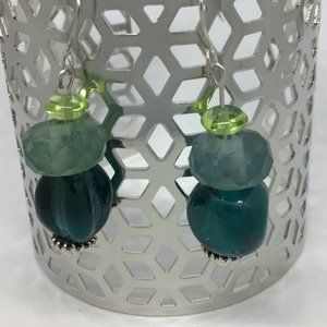 Artisan Silver Tone Glass Bead Dangle Earrings